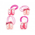 Ballet Shoes elastic Hair Bobbles Bands (4pcs)