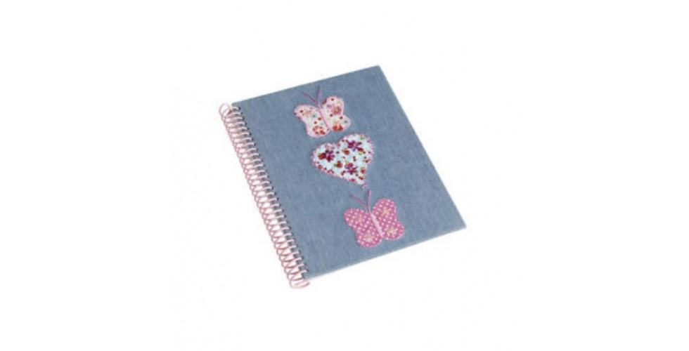 Denim Butterfly Notebook A5