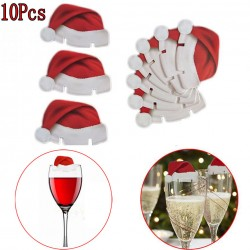 10 x Santa HAT Glass decorations