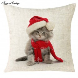 Cat Funny Christmas Pillow