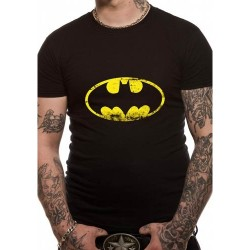 Batman T Shirt Distressed Logo Mens large