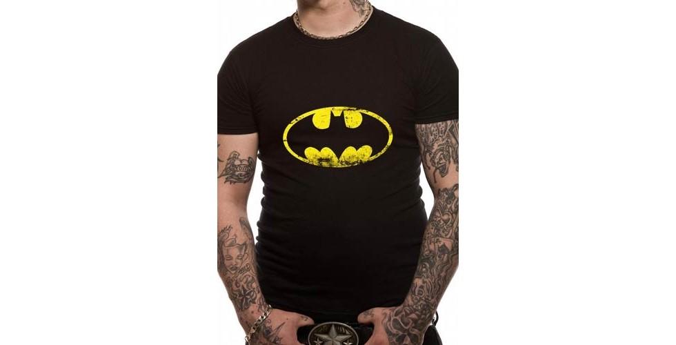 Batman T Shirt Distressed Logo Mens large