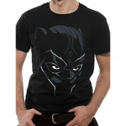 Marvel T Shirt Black Panther Face Mens