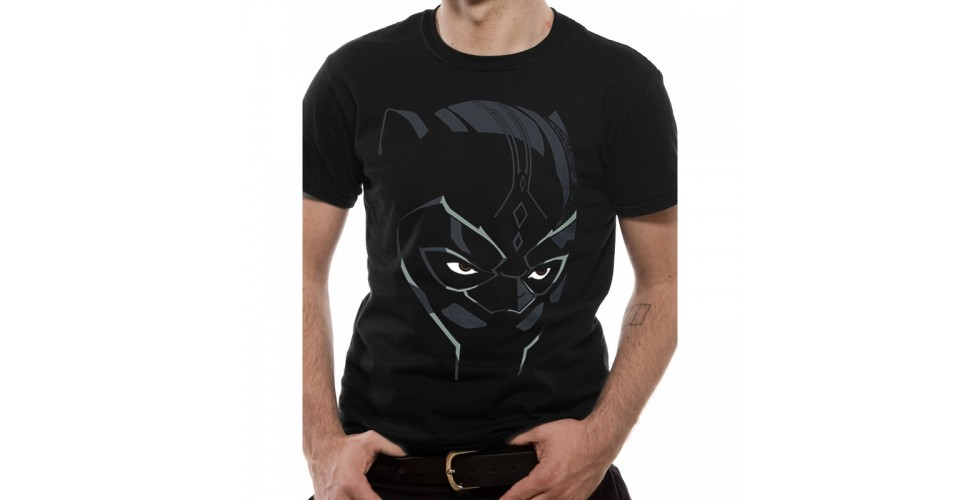 Marvel T Shirt Black Panther Face Mens