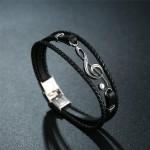 Leather Bracelet Treble Clef Black