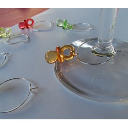 Multi Colored BABY PACIFIERS Wine Glass Charms
