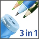 STABILO EASYsharpener 3-in-1 Left Handed Ergonomic Sharpener - blue