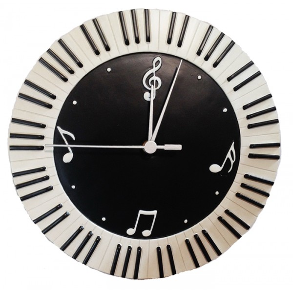 Wall Clock Round Keyboard Music Symbols