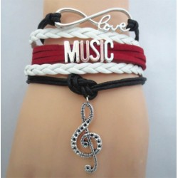 Bracelet LOVE Music Red White