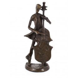 Copper figurine Double Bass Player