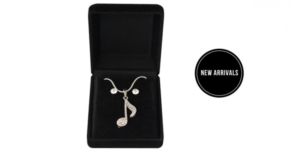 Necklace & Earrings Musical Note Quaver