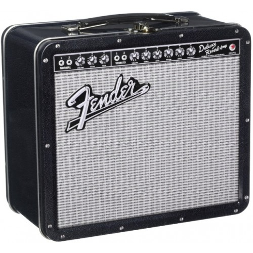 Aquarius Fender Black Tolex Metal Tin Lunch Box
