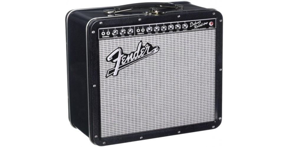 Aquarius Fender Black Tolex Metal Tin Lunch Box