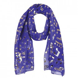 Scarf Gold Notes Purple