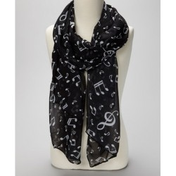 Musical notes scarf with white notes