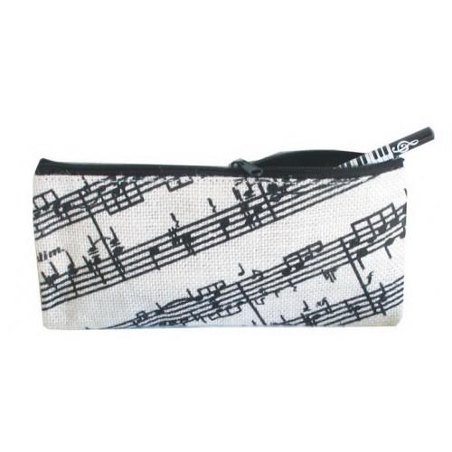 Jute Pencil Case Music Staves Design