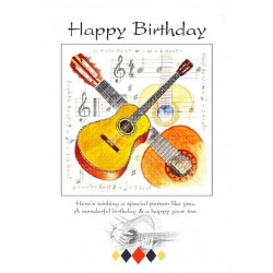Happy Birthday Card - Guitar Design