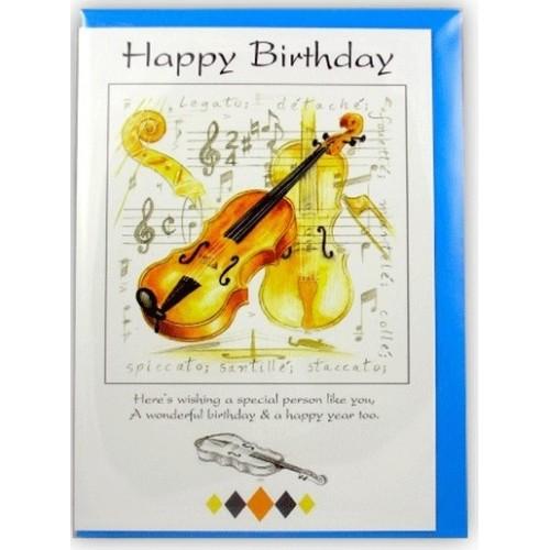 Happy Birthday Card - Violin Design