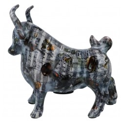 Ceramic money box bull with notes