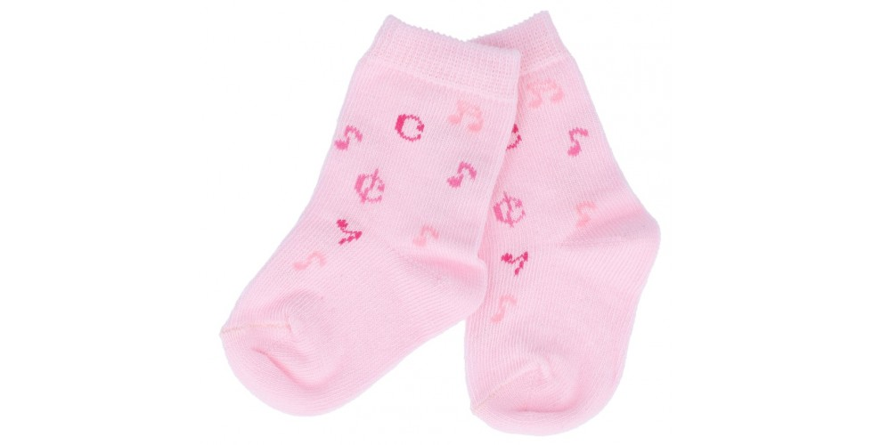 Baby Socks Music Notes Pink