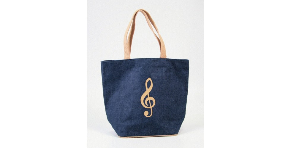 Blue Jute Bag with Treble Clef