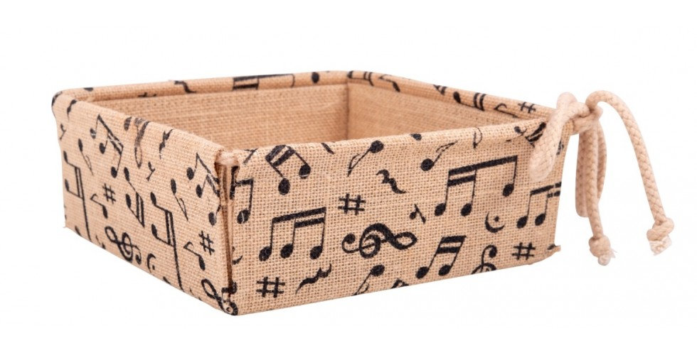 Jute basket mix of notes with cord