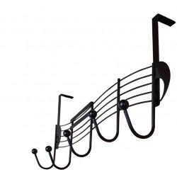 Door coat rack, 5 hooks, black