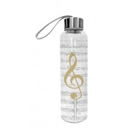 Glass bottle I love music real gold
