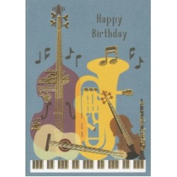 Greetings Card Birthday Music Instruments Clearwat