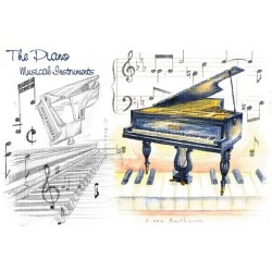Happy Birthday Card - Piano Design
