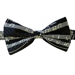 Bow Tie Silk Black Manuscript White Staves