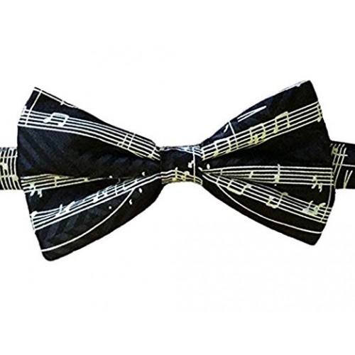 Bow Tie Silk Black Manuscript White Staves