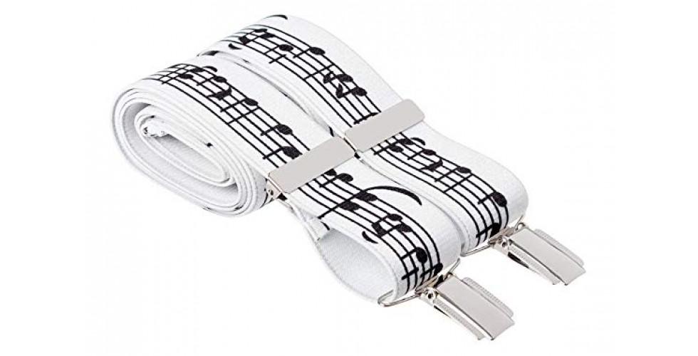White Music Note Braces for Men