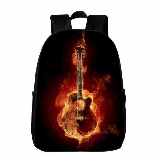 Flame Guitar Backpack School Bag