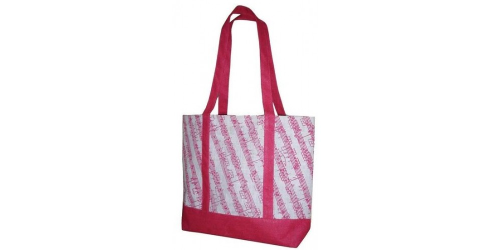 Jute Girly Tote Bag Music Stave Design