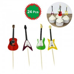 24pcs Guitar Shape Cupcake Toppers