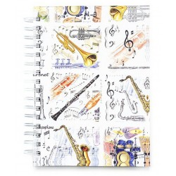 A6 Hardback Spiral Notebook Musical Instruments