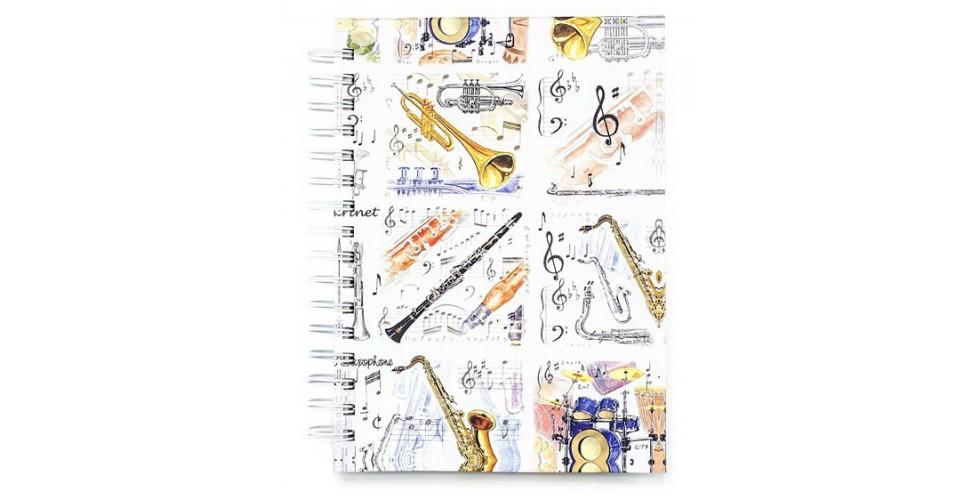 A6 Hardback Spiral Notebook Musical Instruments