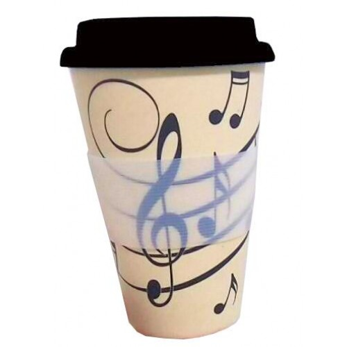 Eco Travel Mug Bamboo Music Notes