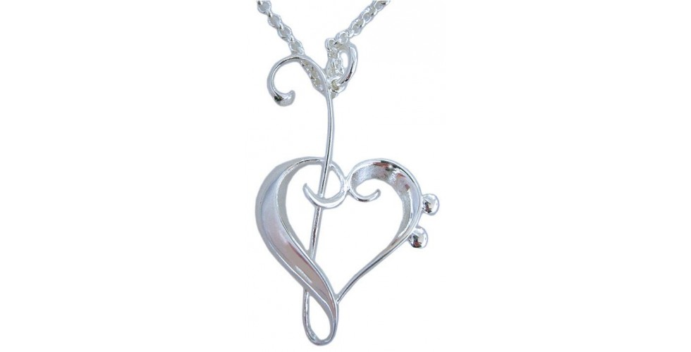 Heart of Clefs Silver-Plated Pendant by MGC