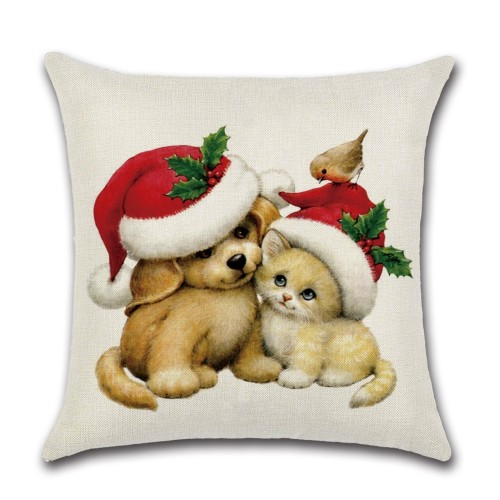 Cat & Dog Funny Christmas Pillow