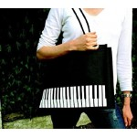 Jute carrier bag with keyboard design