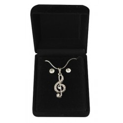 Necklace & Earrings Musical Note Treble Clef