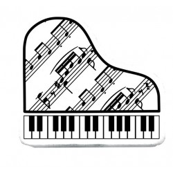 Piano eraser white with notes