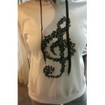 Hoodie Treble Clef Long Sleeve, white, XL
