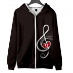 Hoodie Treble Clef Polyester with Zipper