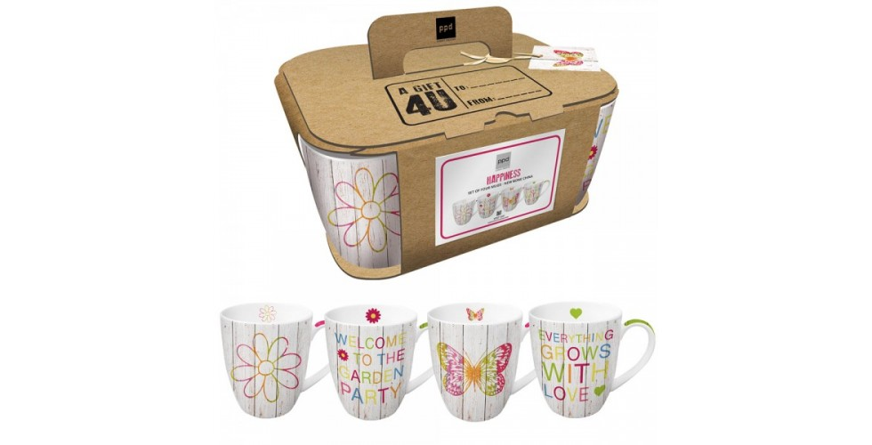 Mugs Happines Mix cardboard set of 4 0,35l