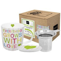 Mug lid & strainer cardboard grows with love 0,35l