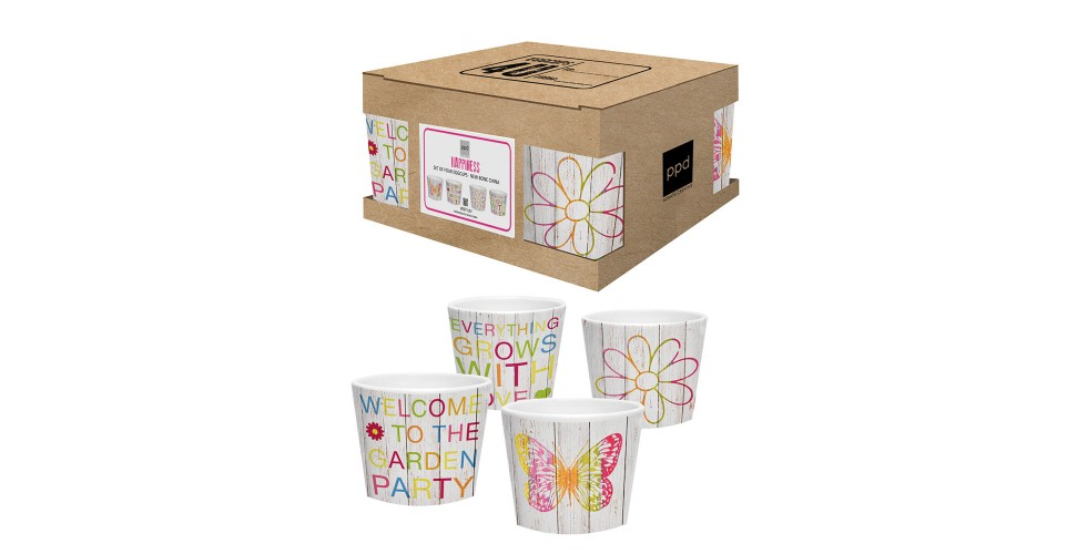 Eggcup set of 4 cardboard happiness mix