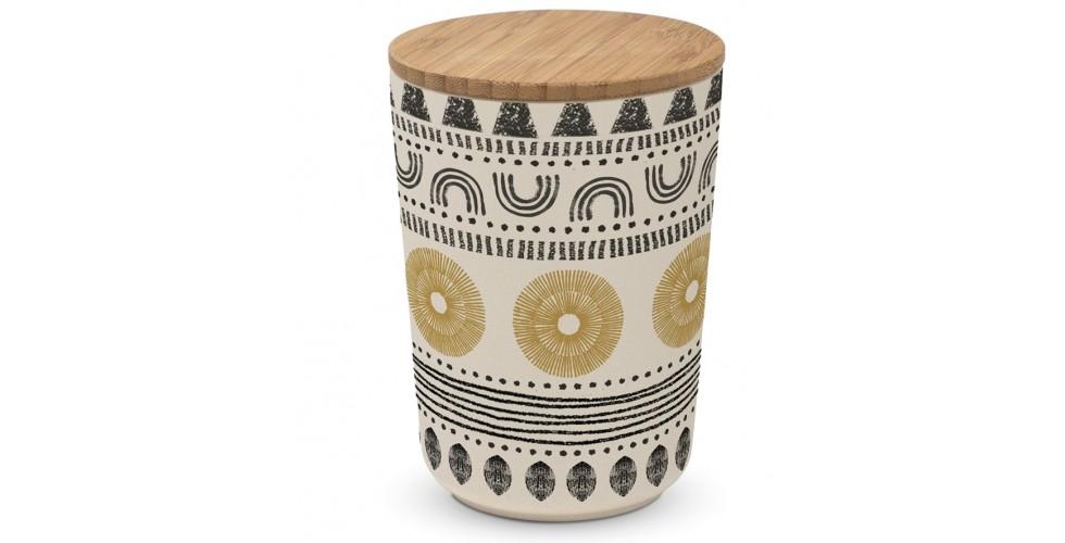 Ethno style bamboo storage jar large PPD